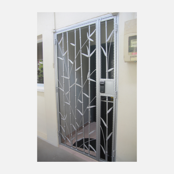 Bamboo Silver Wrought Iron HDB Gate