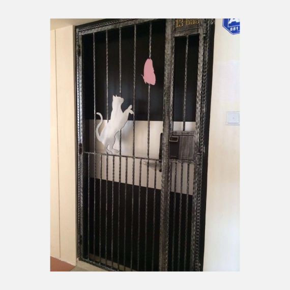 Cat with Butterfly Wrought Iron HDB Gate