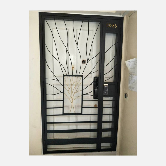 Fortune Tree Black Wrought Iron HDB Gate