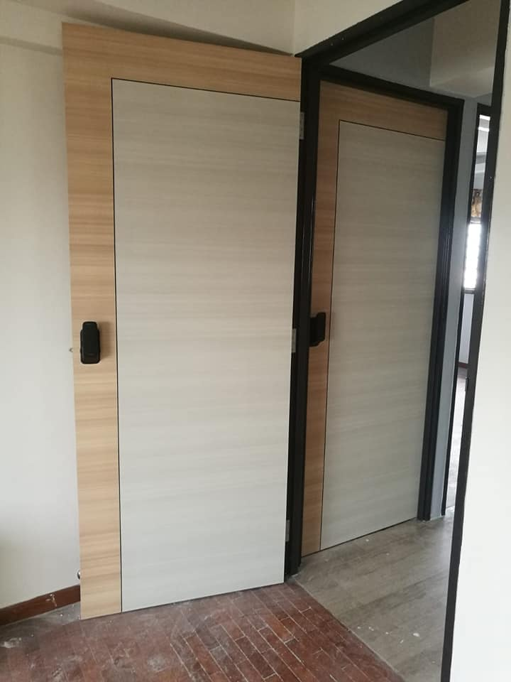 hdb bedroom door - Add Laminate Design with Free Stainless Steel (Gold, Black, Silver )