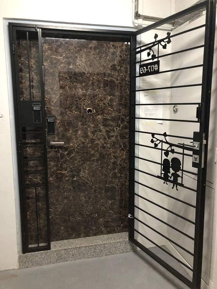 Designer Laminate Fire Rated HDB Main Wooden Door Double Leaf 4×7 Feet