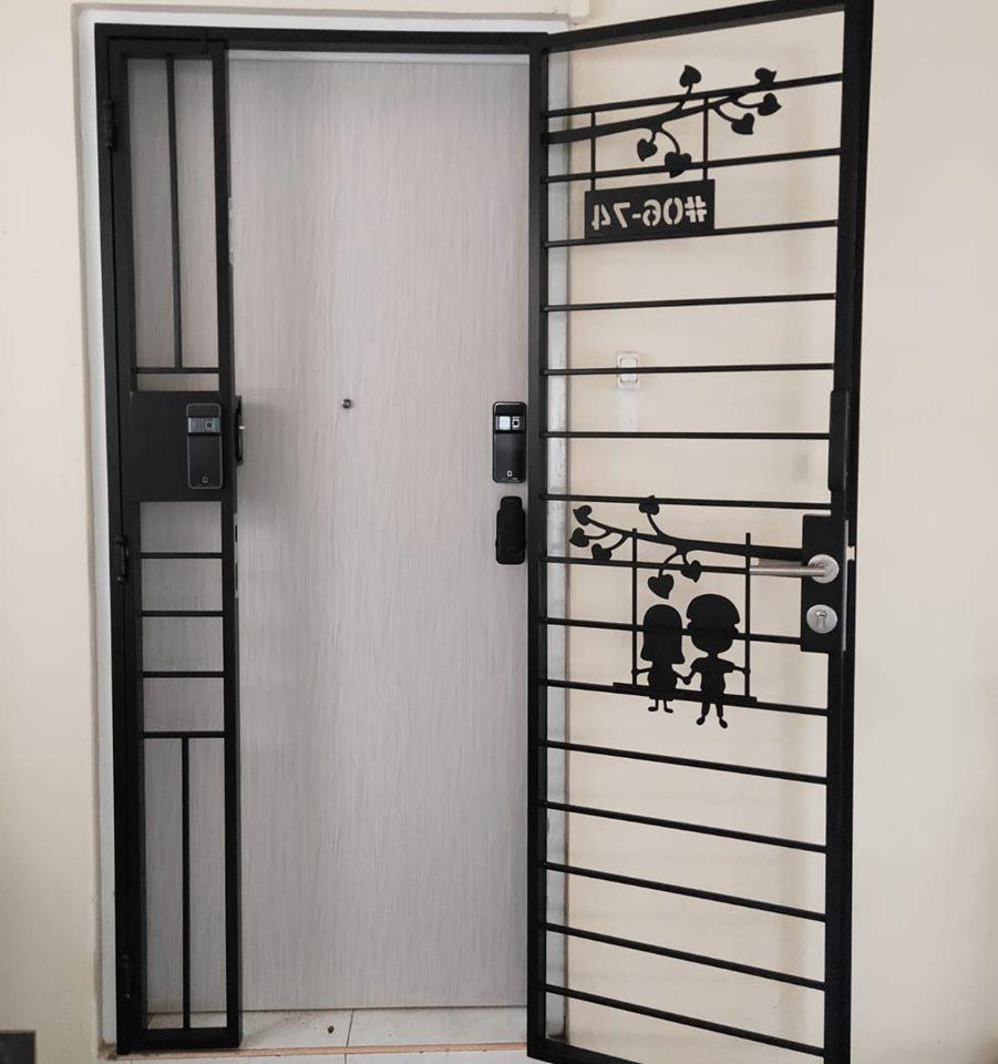 Designer Laminate Fire Rated HDB Main Wooden Door Single Leaf 3×7 Feet
