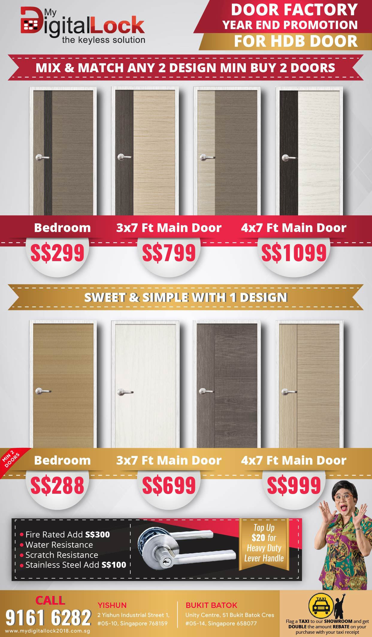 Buy HDB bedroom door sales @ My Digital Lock. Call 9067 7990