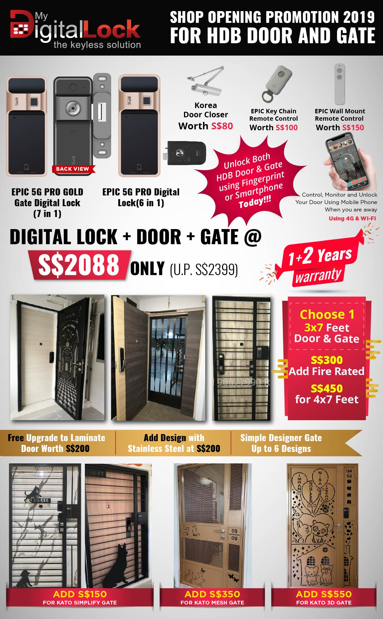 Buy Door and Gate @ My Digital Lock. Call 9067 7990