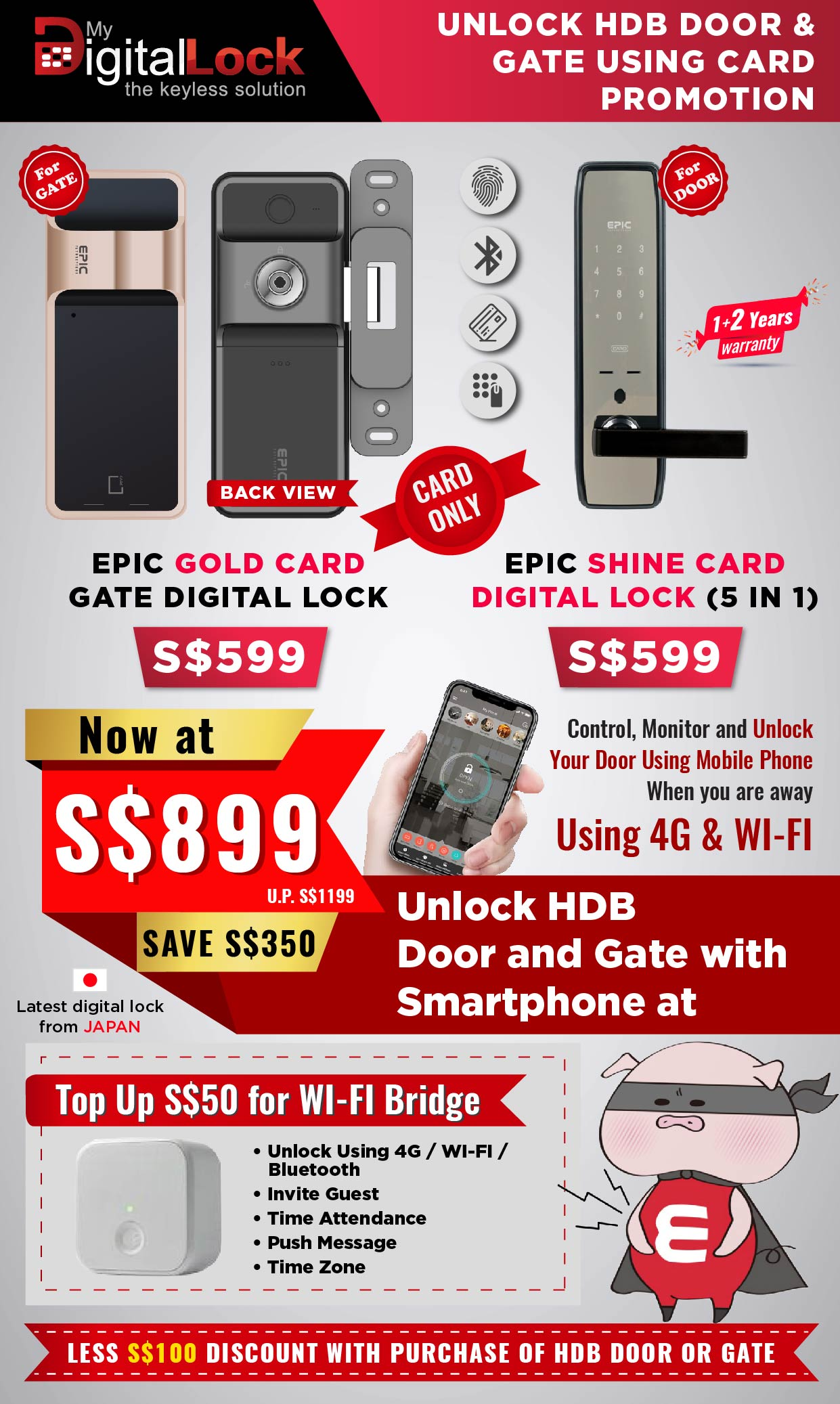Buy EPIC Gold Card Gate Digital Lock Promotion @ My Digital Lock. Call 9067 7990