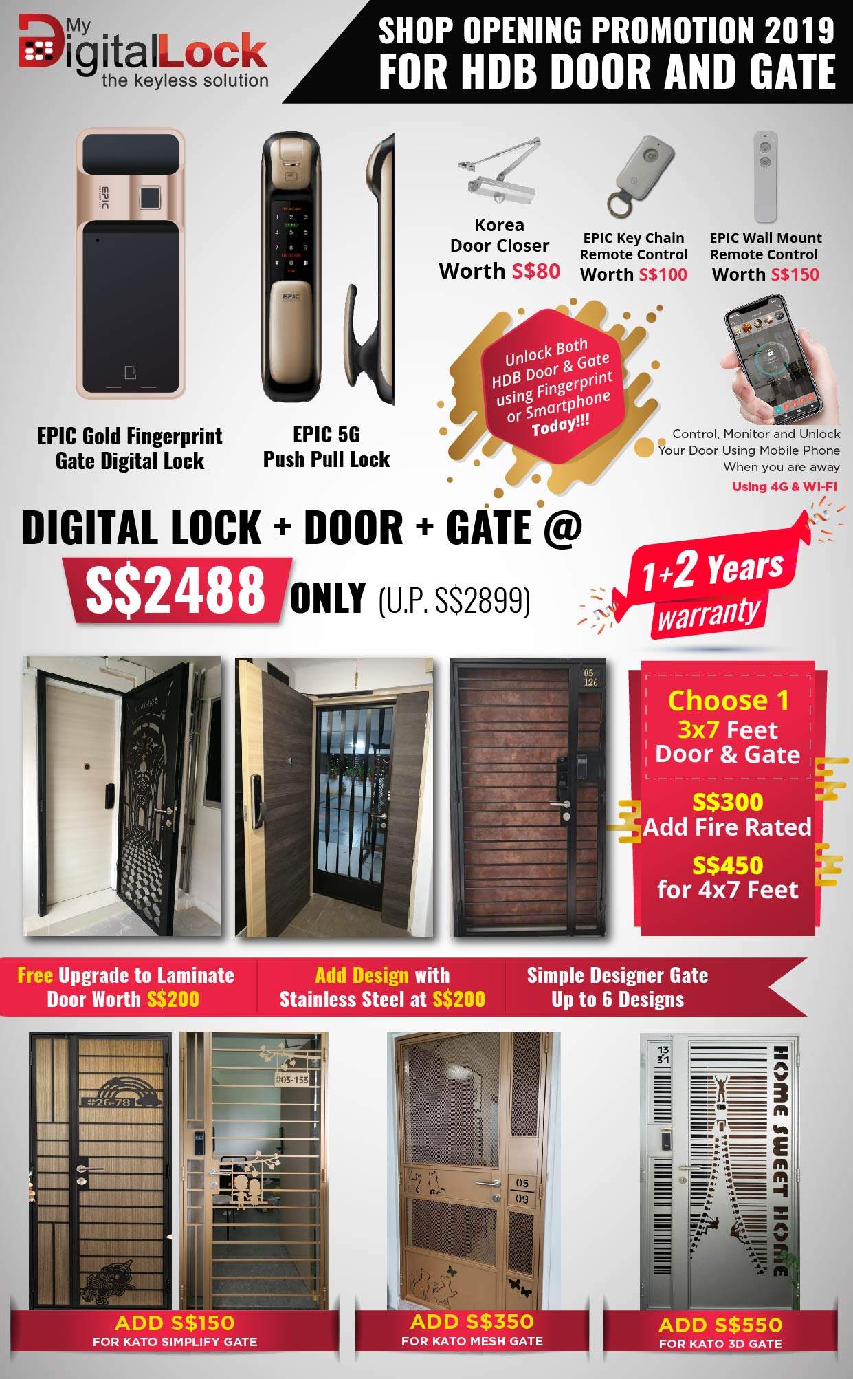 Buy EPIC Gold Fingerprint @ My Digital Lock. Call 9067 7990