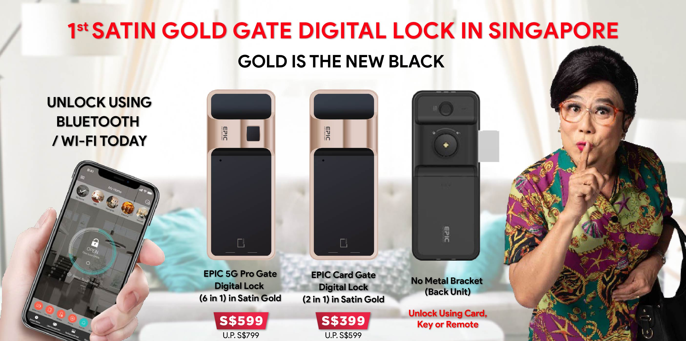 Buy Satin Gold Gate Digital Lock - HDB Gate @ My Digital Lock. Call 9067 7990