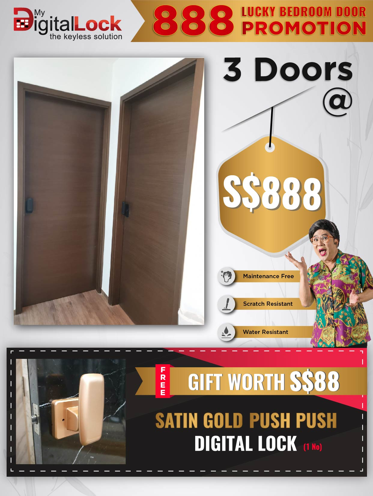 Buy Satin Gold Push Push Digital Lock @ My Digital Lock. Call 9067 7990