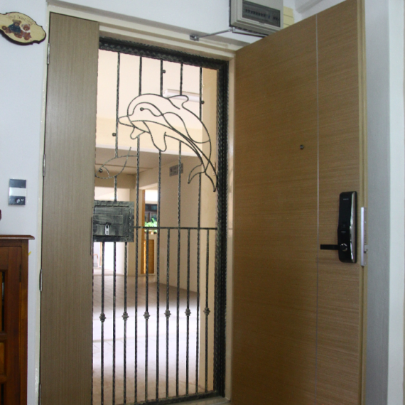 Veneer Solid HDB Main Door Double Leaf 4×7 Feet