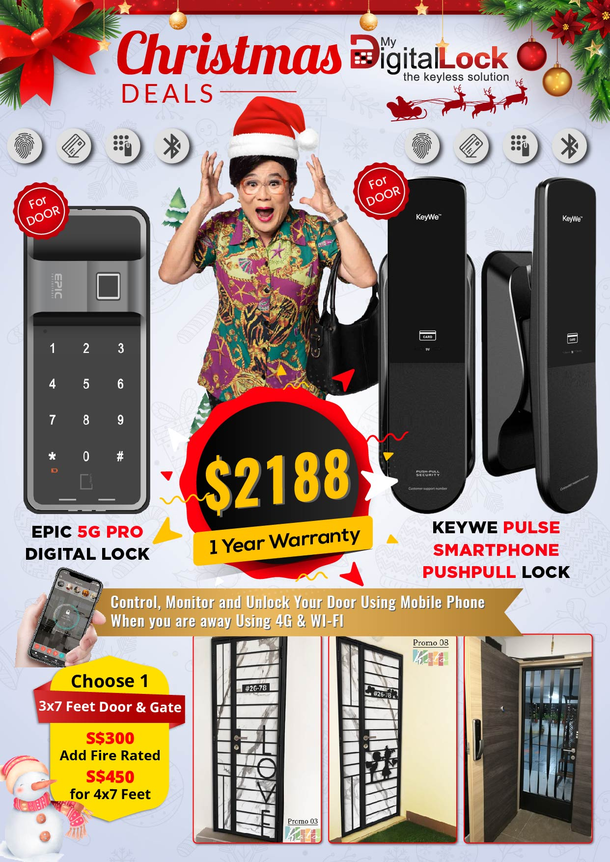 My Digital Lock EPIC 5G PRO and KeyWe Pulse PushPull Digital Lock and Door and Gate Christmas Promotions 2019