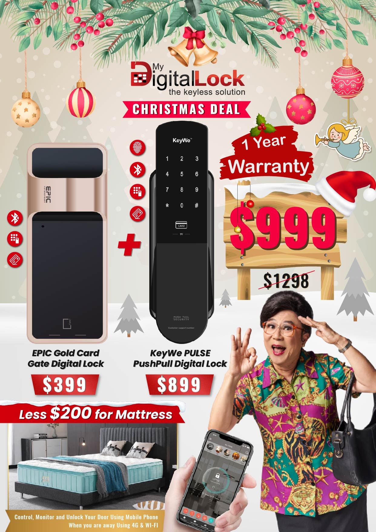 My Digital Lock EPIC Gold Card Gate and KeyWe Pulse PushPull Digital Lock Christmas Promotion 2019