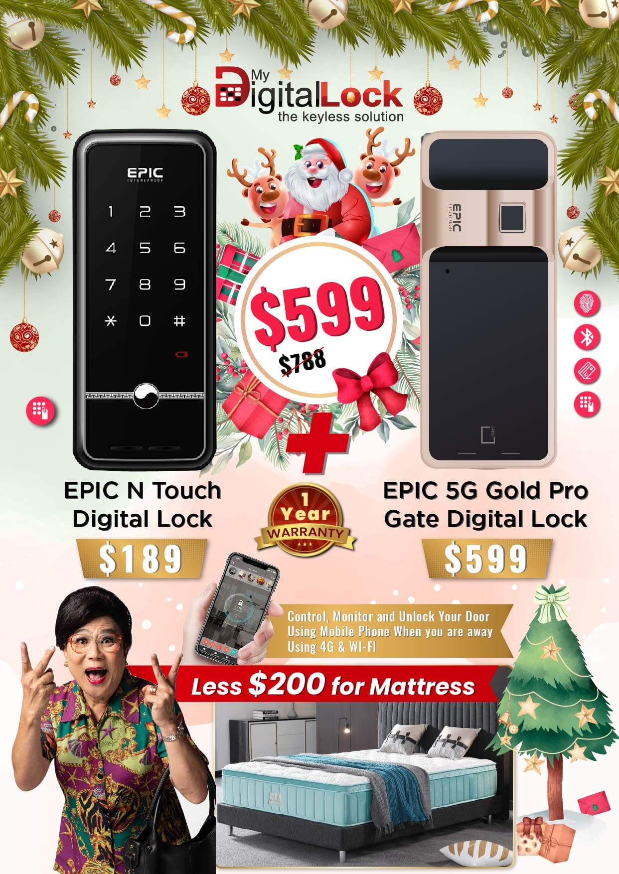 My Digital Lock EPIC N Touch and 5G Gold Pro Gate Digital Lock Christmas Promotion 2019