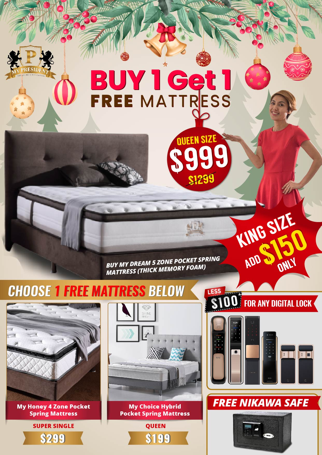 My President Mattress Buy 1 Get 1 FREE Mattress Christmas Promotions 2019