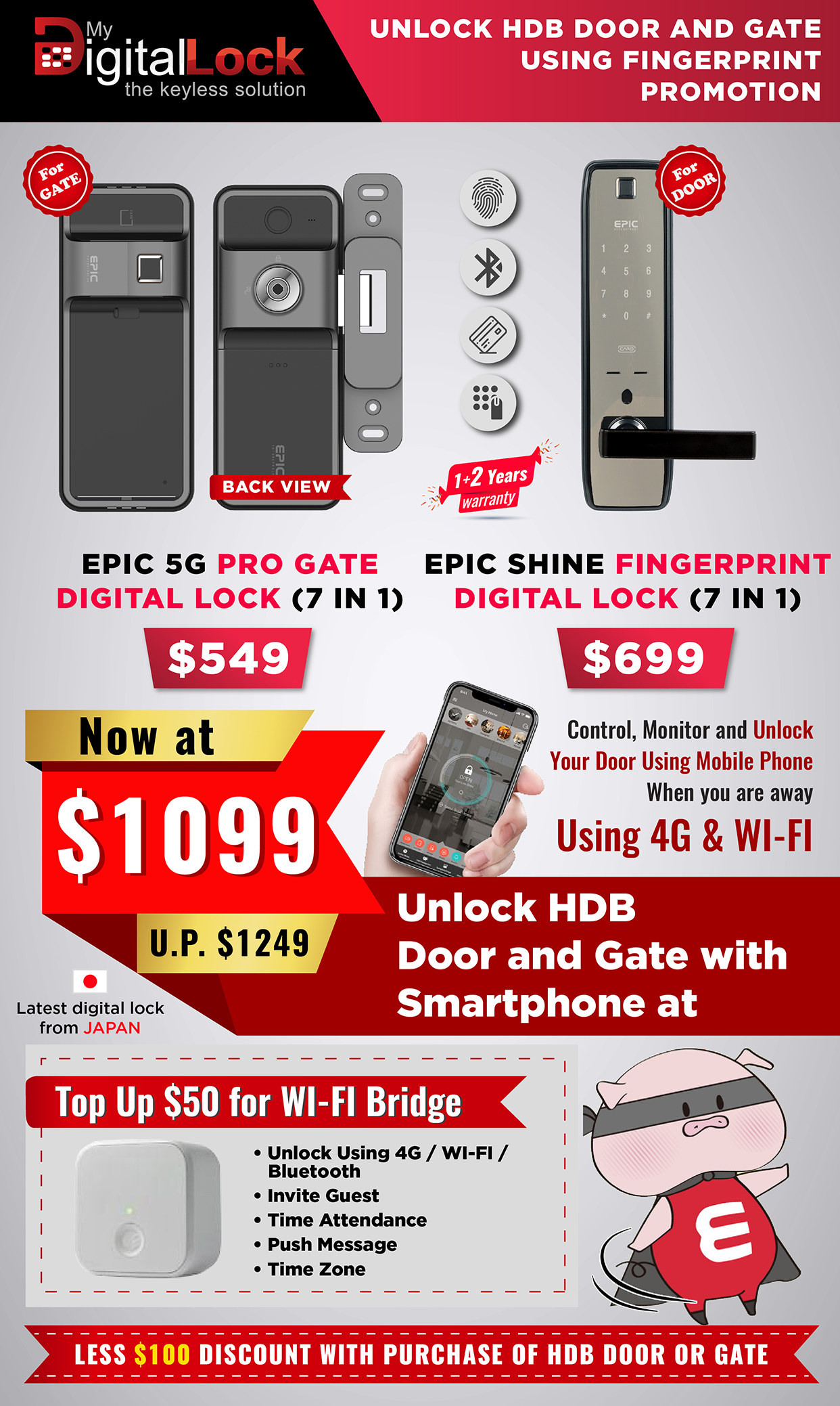 Buy Unlock HDB Door and-Gate digital lock using Card @ My Digital Lock. Call 9067 7990