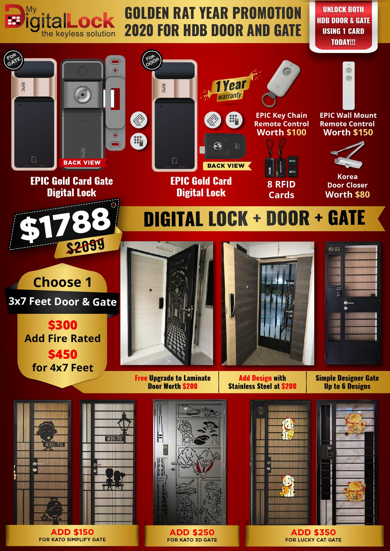 Golden Rat Year HDB Door and Gate Promotion with EPIC Gold Card Digital Lock