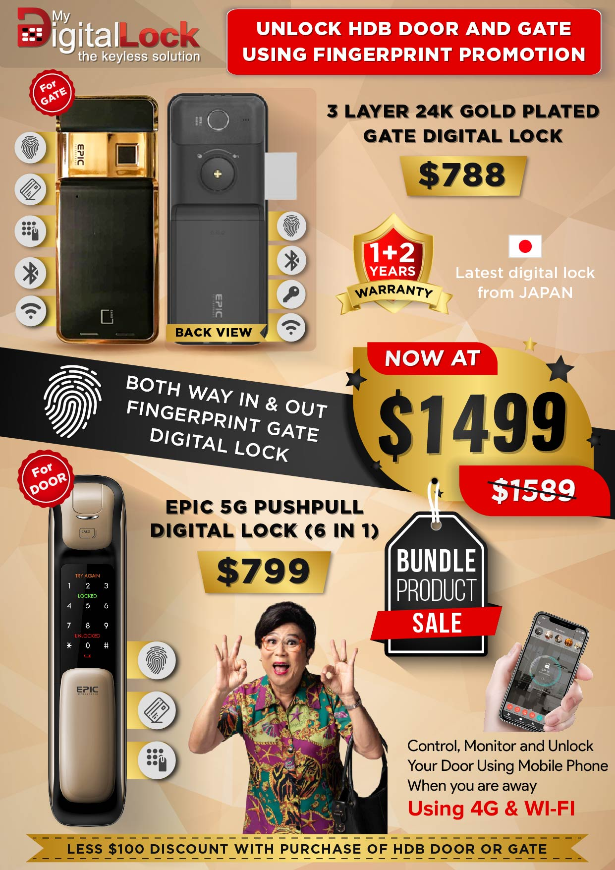 24K Gold Plate Gate and 5G Push Pull Digital Lock Promotion