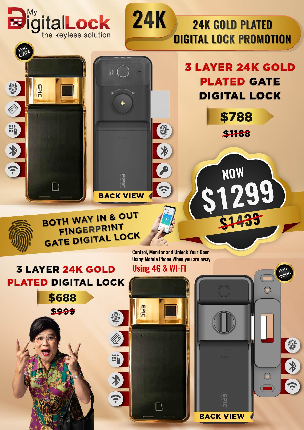 24K-Gold-Plated-Gate-and-Door-Digital-Lock-Promotions