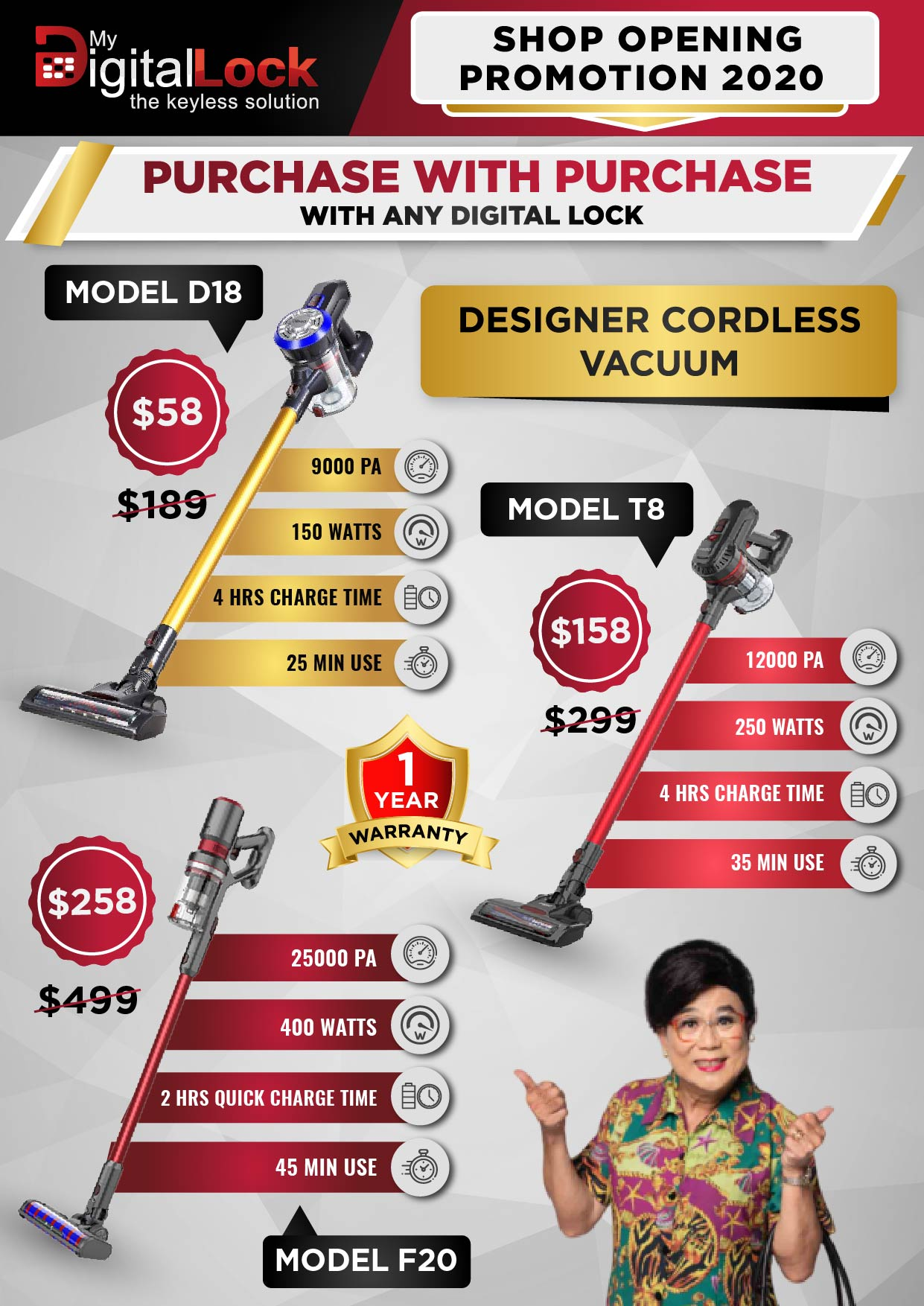 Designer Cordless Vacuum Clear at affordable price in Singapore