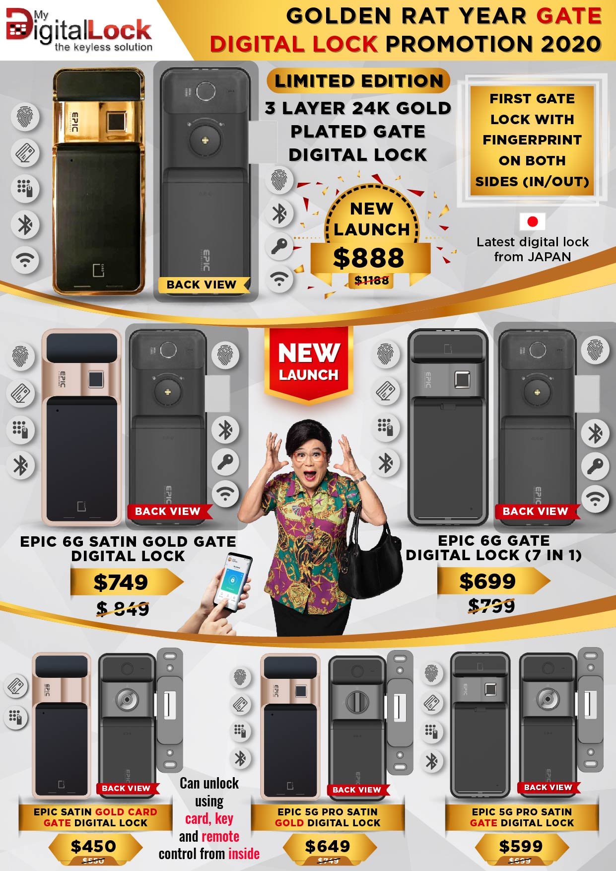 EPIC 25K Gold, Satin Gold and Black Digital Lock for Door and gate