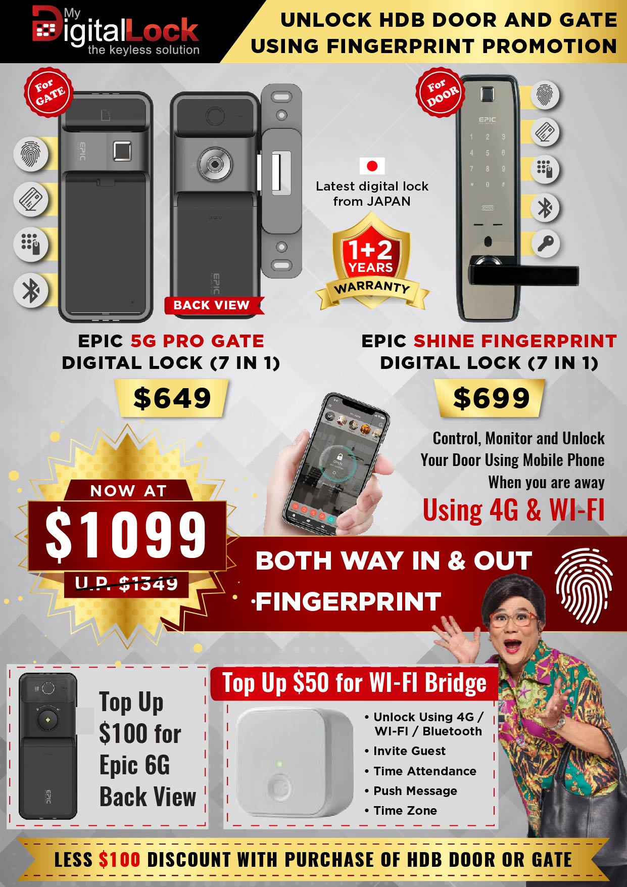 EPIC 5G PRO Gate and Shine Fingerprint Digital Lock Promotion