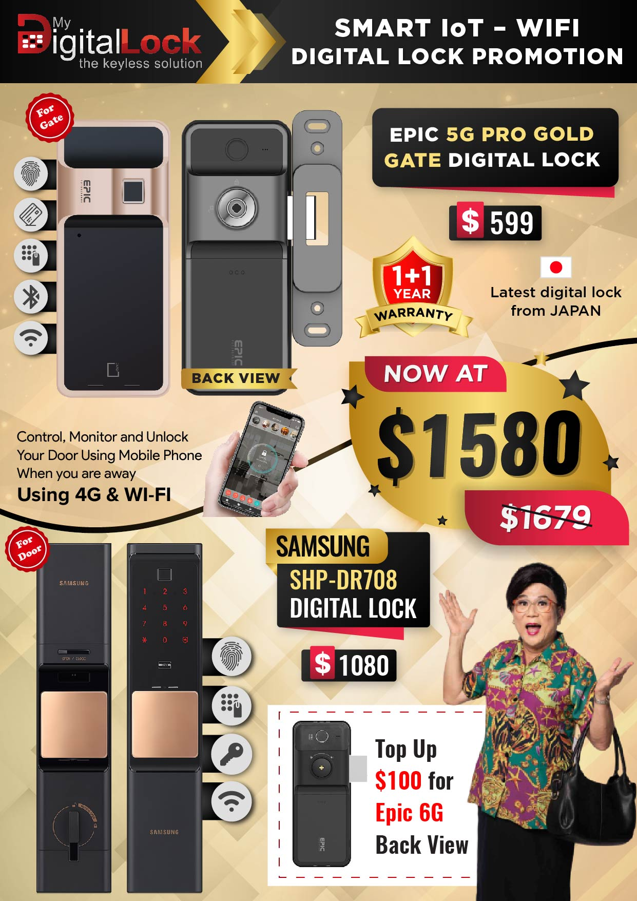 EPIC 5G PRO Gold Gate and Samsung SHP-DR708 Door Digital Lock Promotions