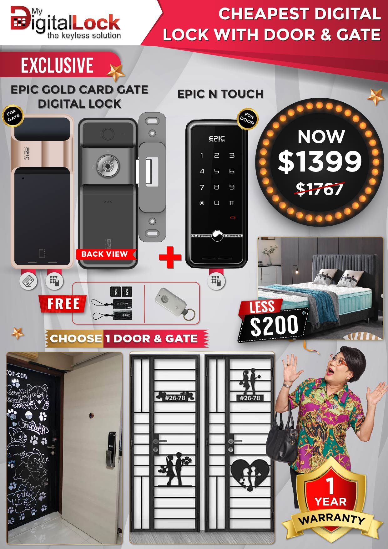 EPIC Gold Card Gate and N Touch Digital Lock with Door and Gate