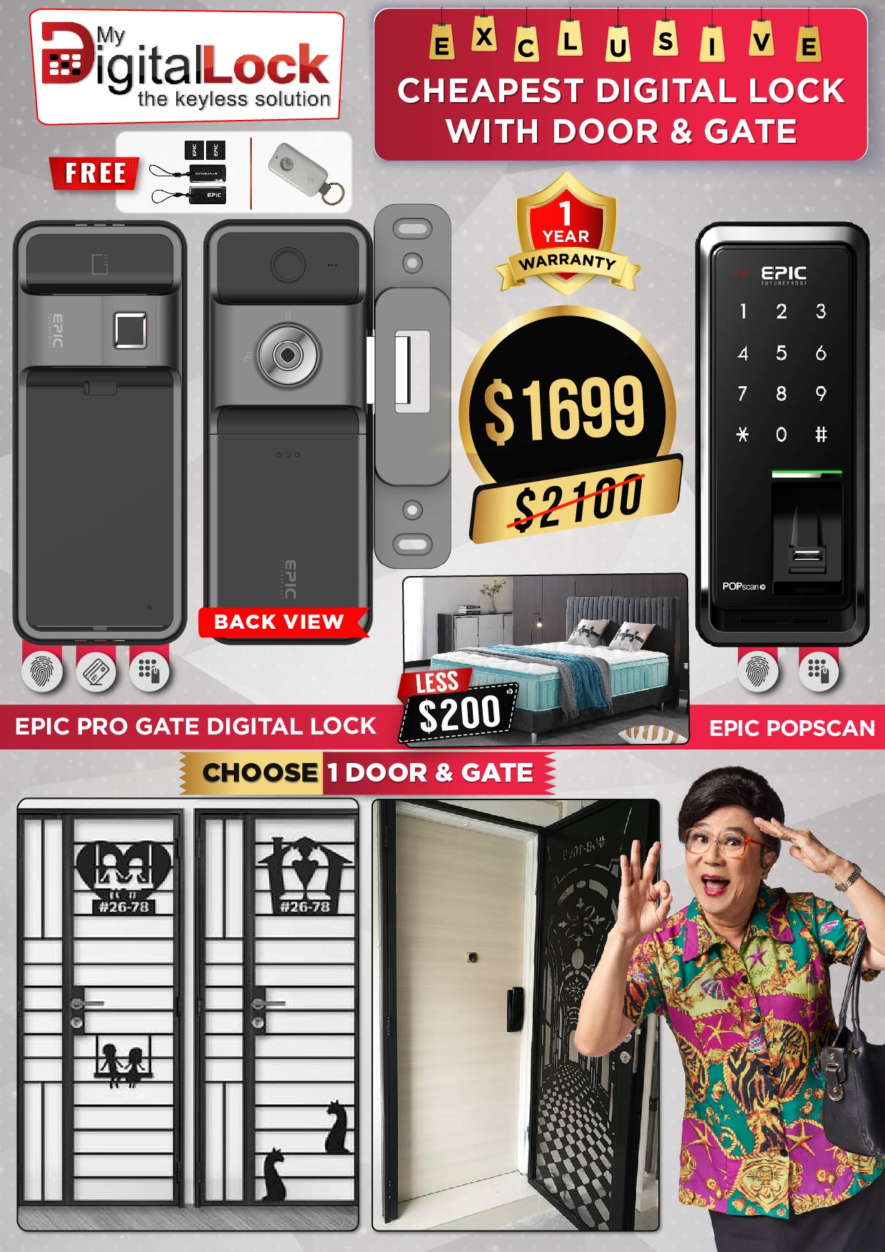 EPIC PRO Gate and POPSCAN Digital Lock with Door and Gate