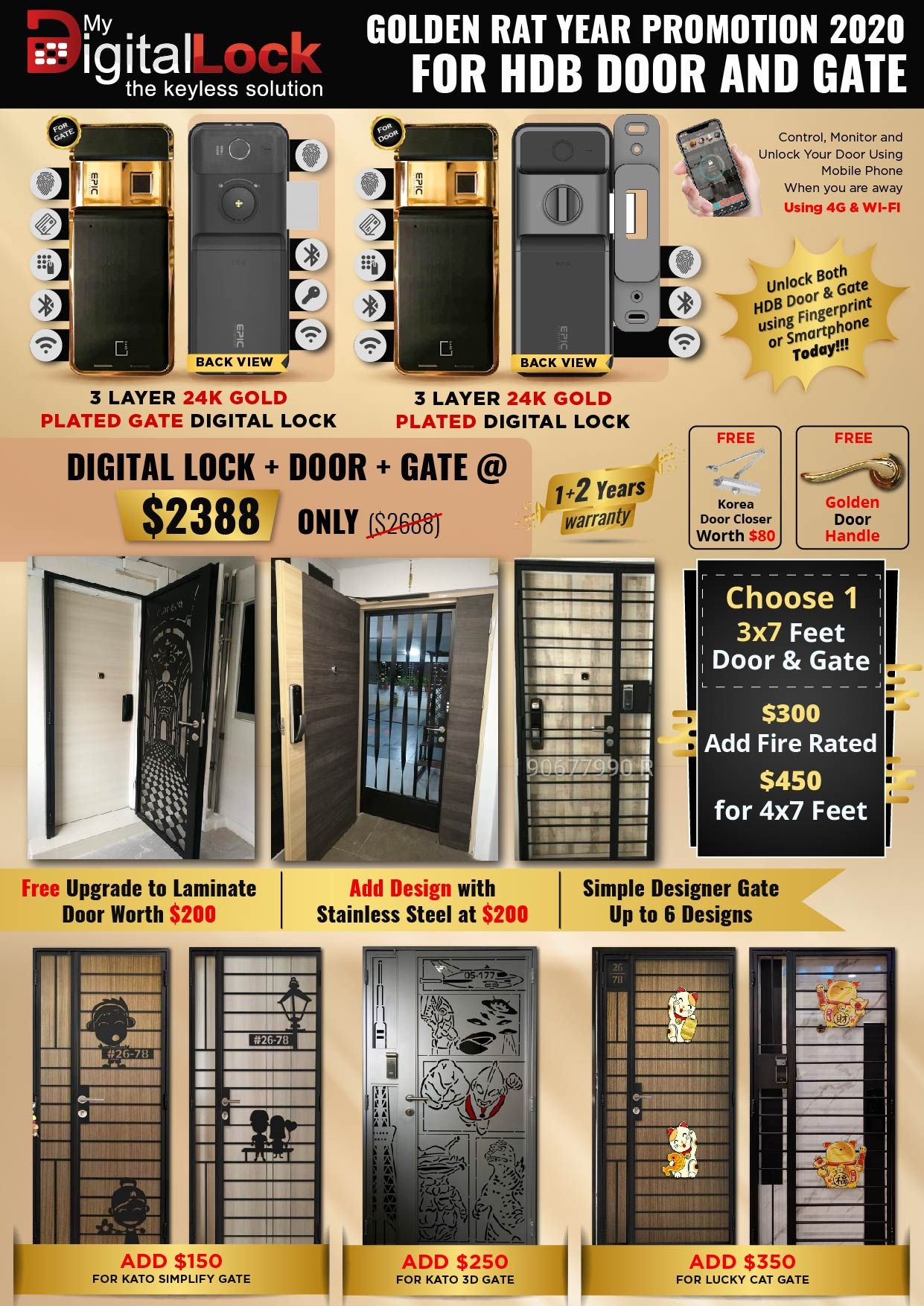 Golden Rat Year HDB Door and Gate Promotion with 24K Gold Plated Digital Lock