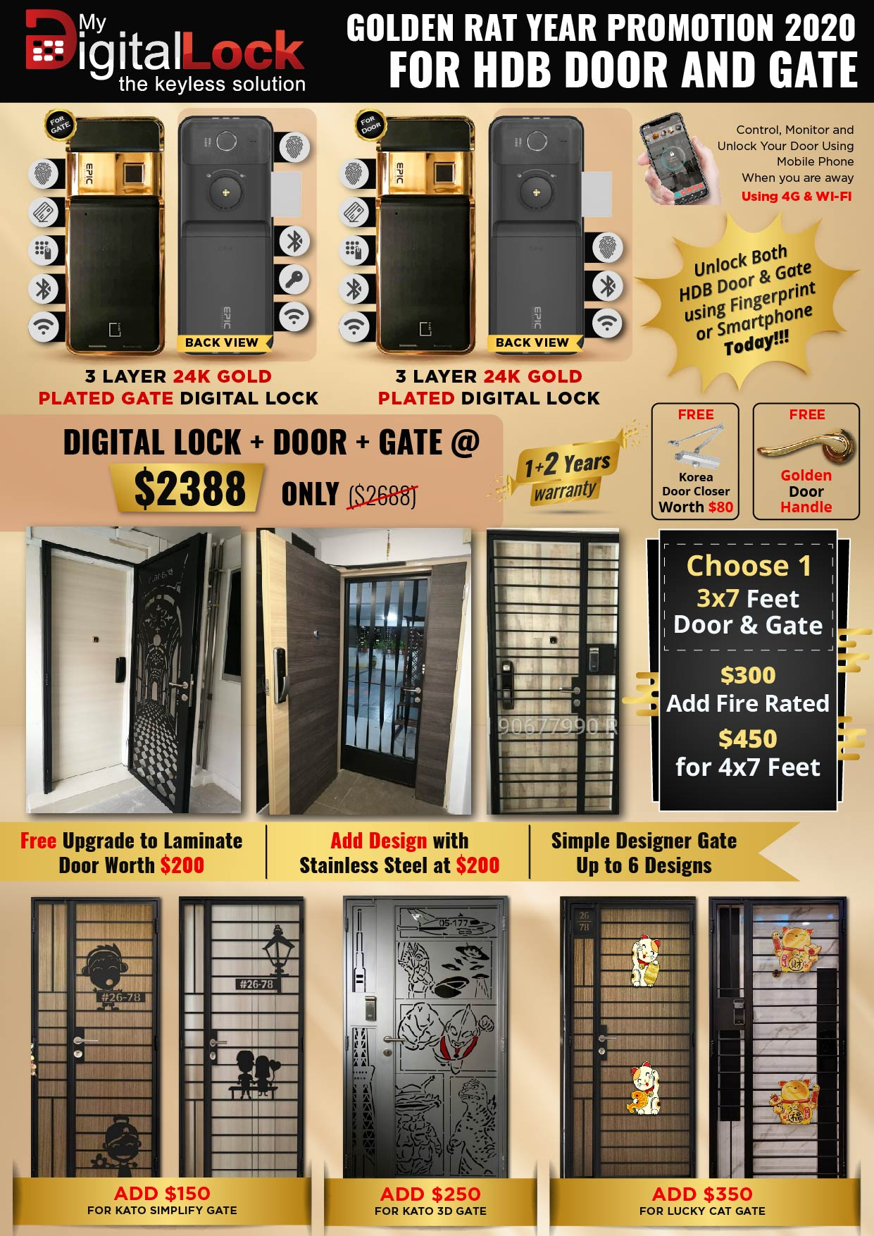 Golden Rat Year HDB Door and Gate Promotion with 24K Gold Plated Digtal Lock