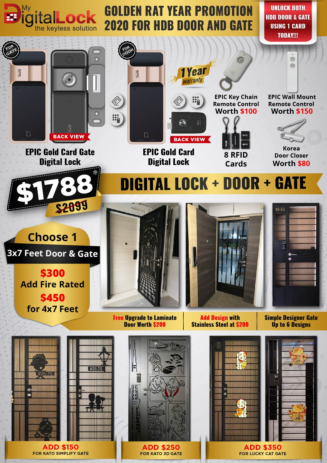 Golden Rat Year HDB Door and Gate Promotion with EPIC 5G Gate Digital Lock