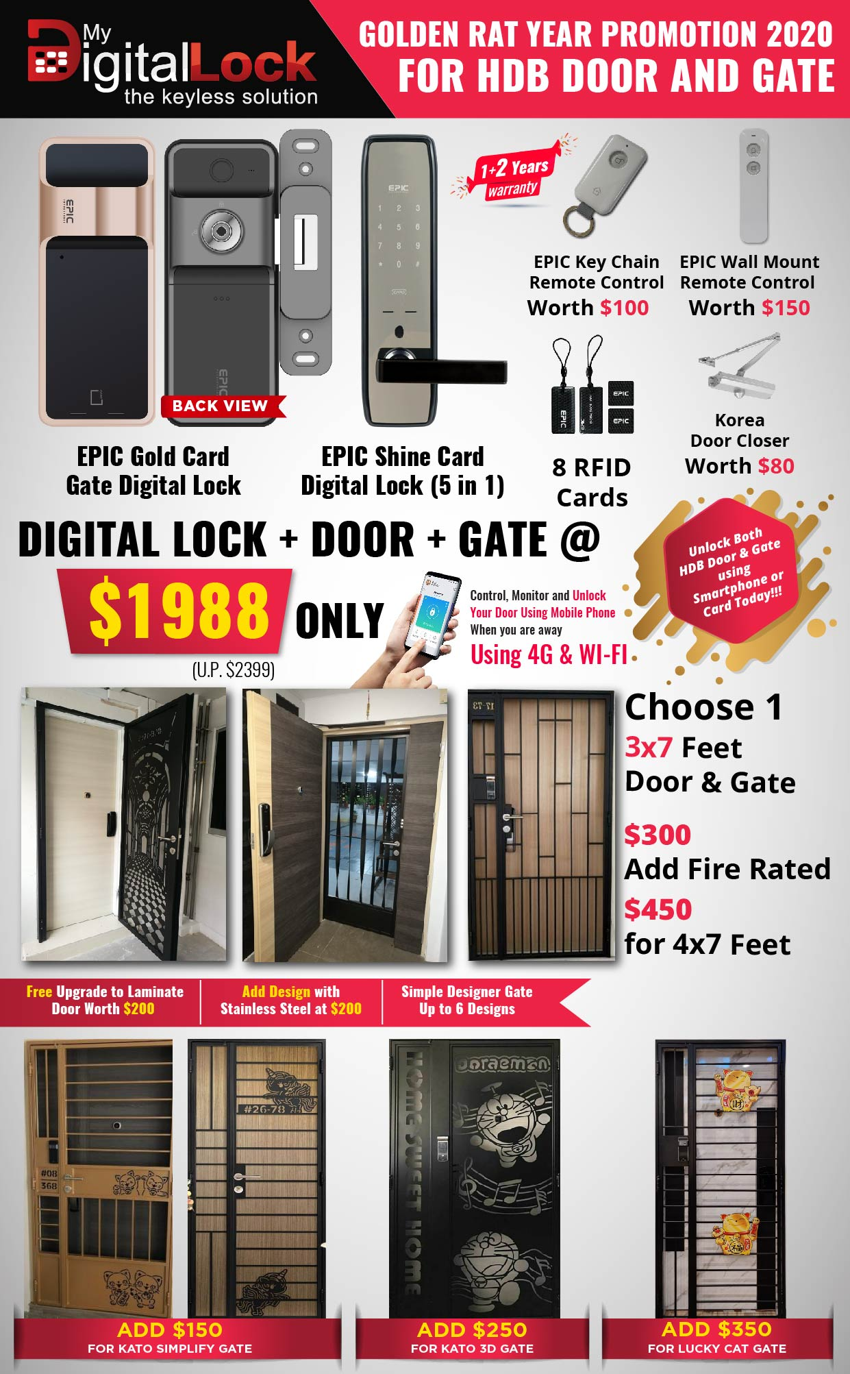 Golden Rat Year HDB Door and Gate Promotion with EPIC Gold Card Gate Digital Lock and Shine Card Digital Lock (5 in 1)