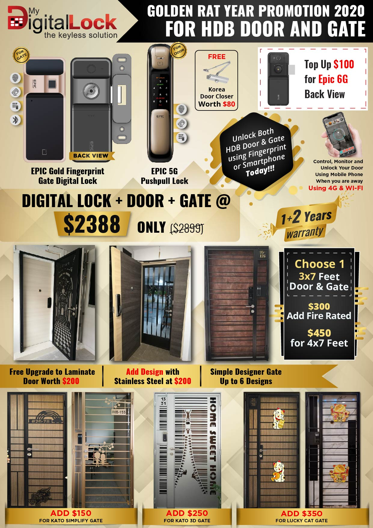 Golden Rat Year HDB Door and Gate Promotion with EPIC Gold Fingerprint and 5G PushPull Digital Lock
