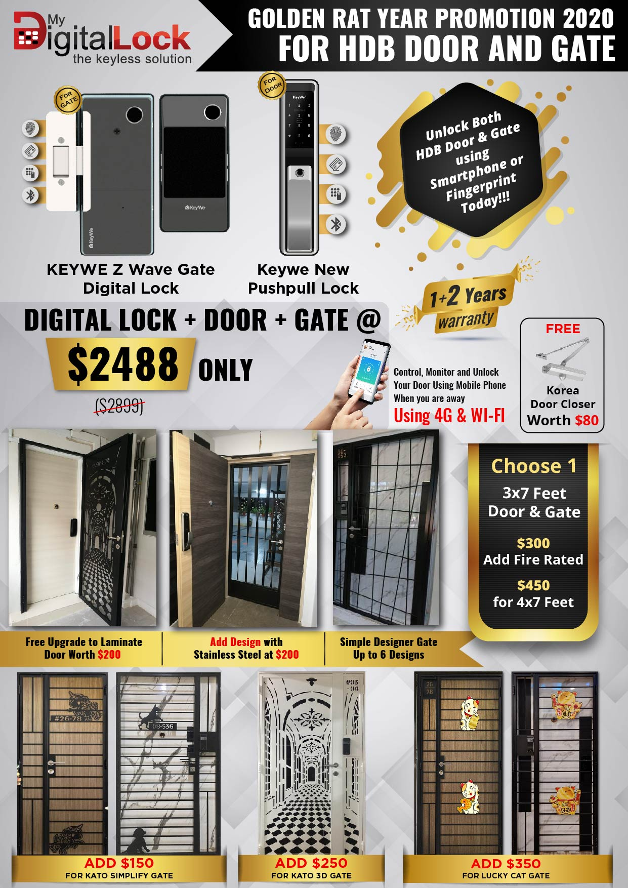 Golden Rat Year HDB Door and Gate Promotion with KeyWe Z Wave and Push Pull Digital Lock