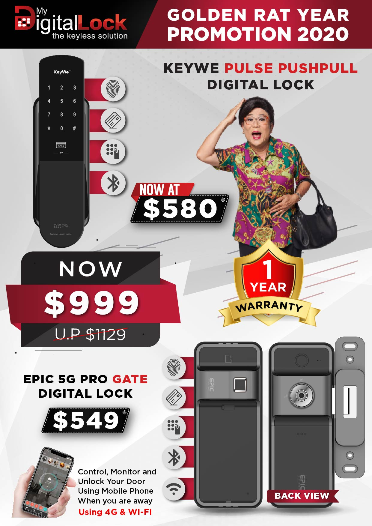 KEYWE Pulse Push Pull and EPIC 5G PRO Gate Digital Lock