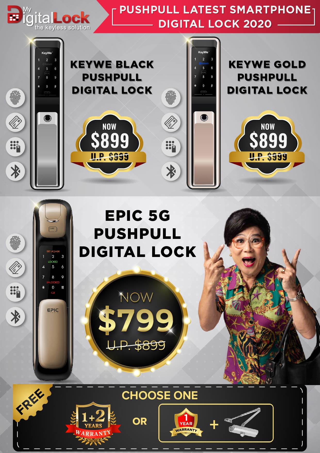 KeyWe and EPIC 5G Push Pull Digital Lock