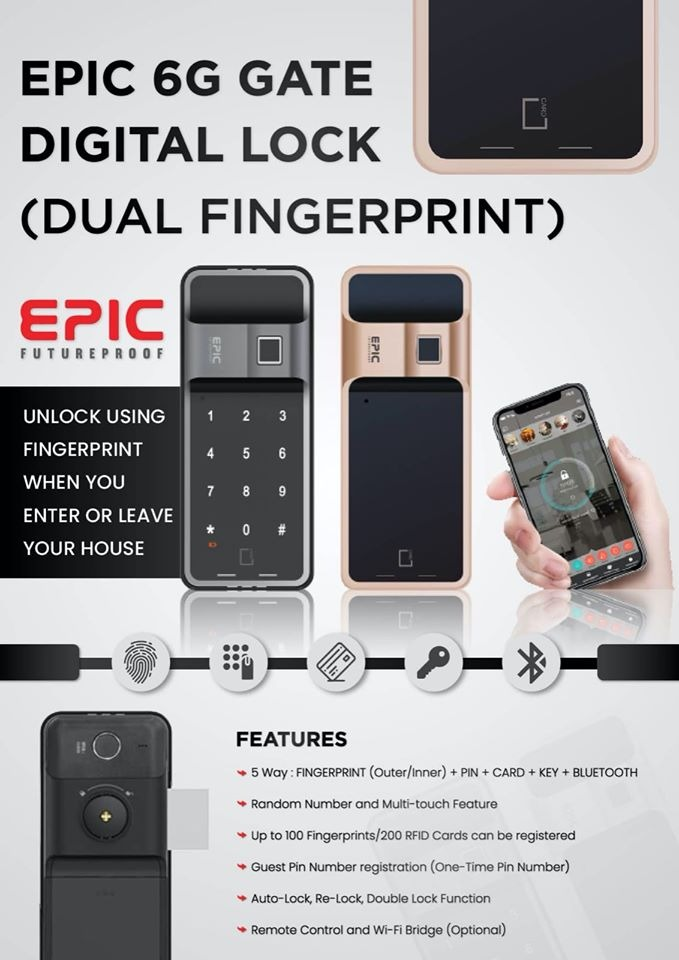 EPIC 6G Gate Digital Lock