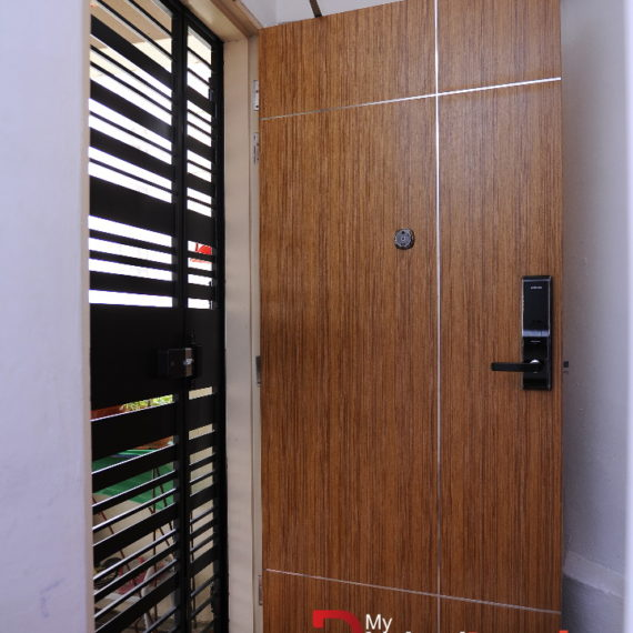 Veneer Solid HDB Main Door Single Leaf 3×7 Feet