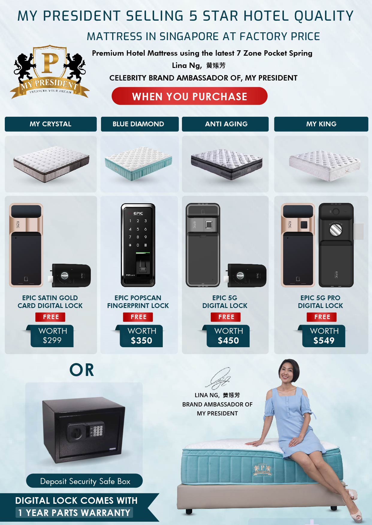 My President Mattress_Free Gifts Digital Lock comes with 1-year