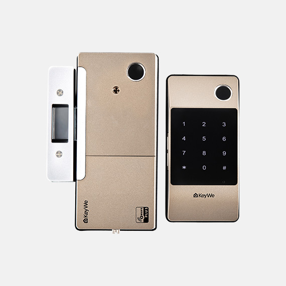 Keywe-Damian-Gold-Dual-Fingerprint-Gate-Lock-(Keypad)