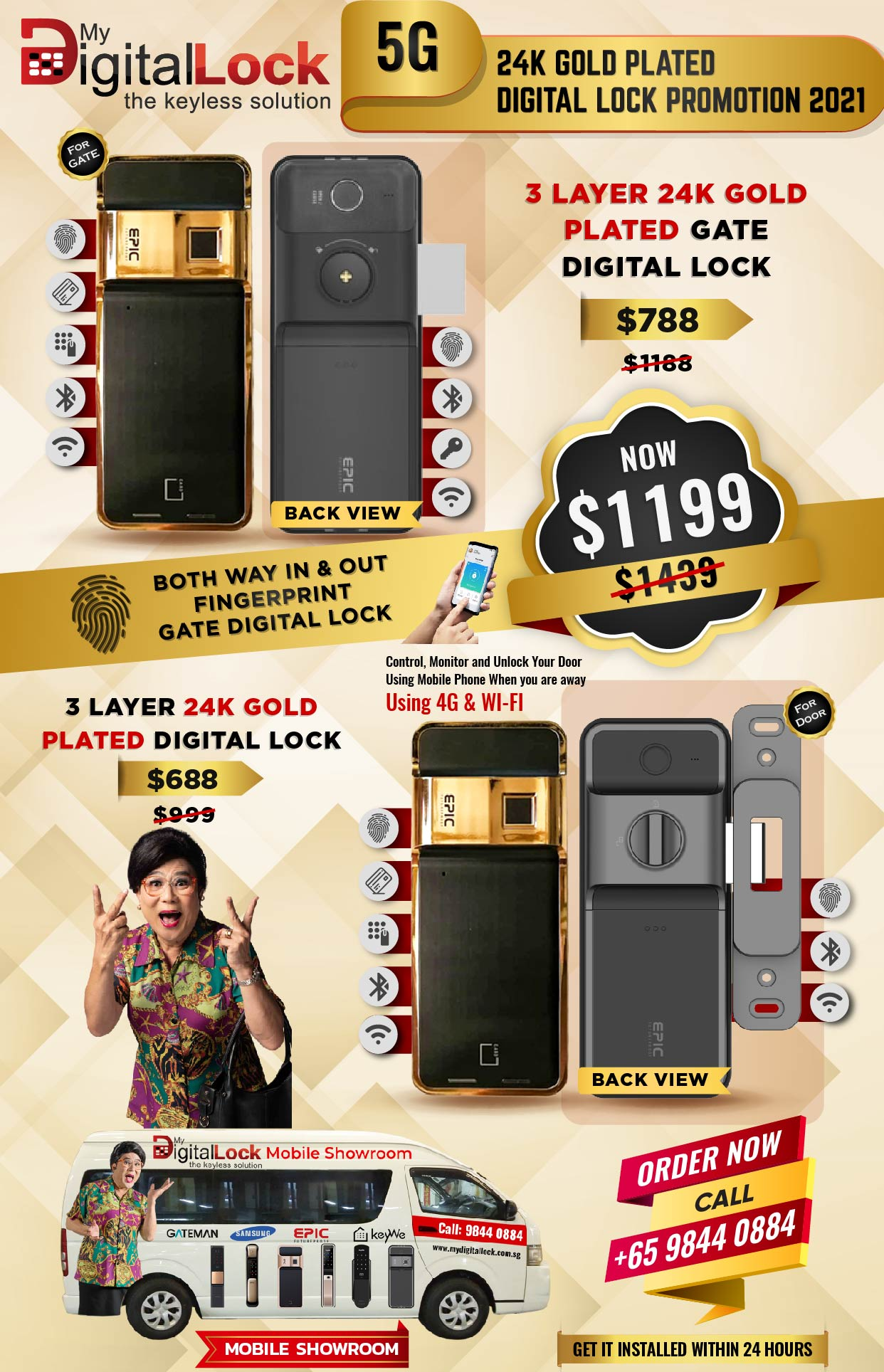 5G 24K Gold Plated Digital Lock Promotion 2021