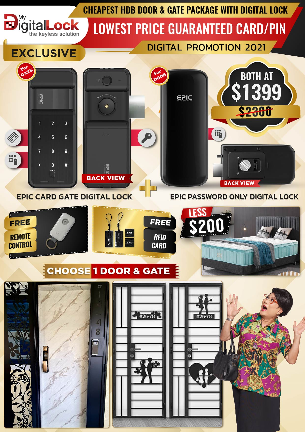 Cheapest HDB Door & Gate Package with Digital