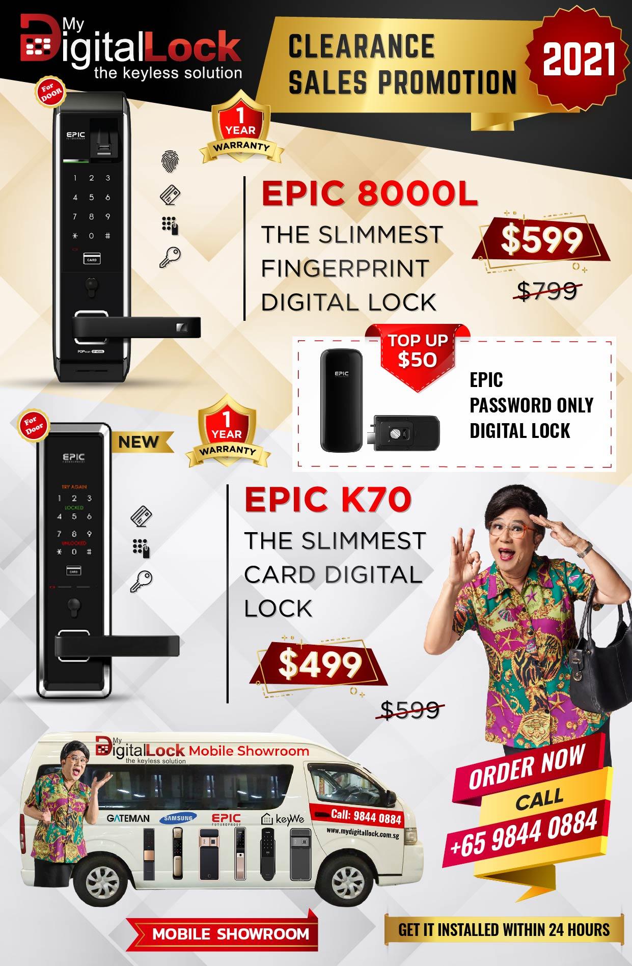Epic 8000L and Epic K70 Slimmest Digital Lock