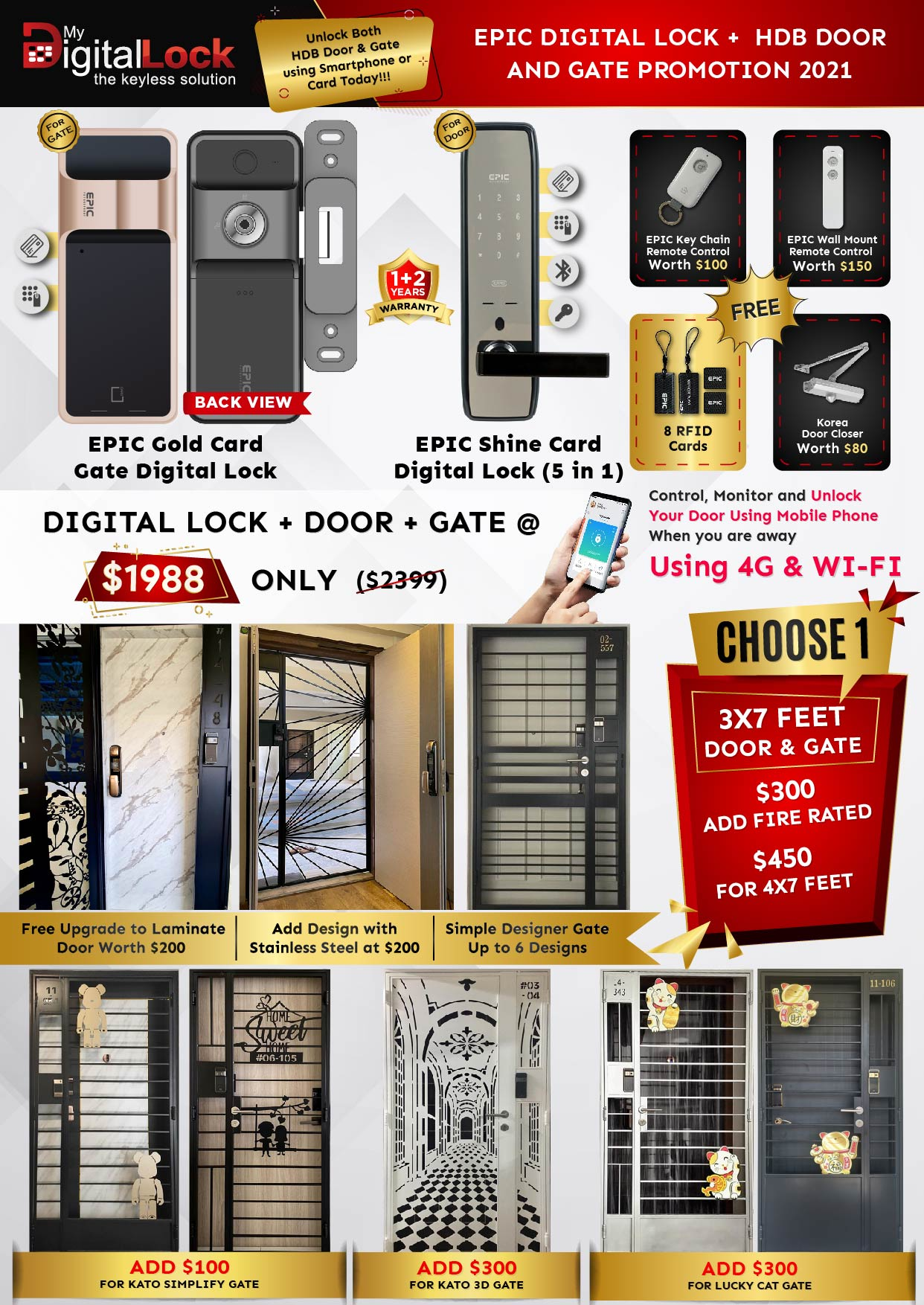 Epic Digital Lock and HDB Gate
