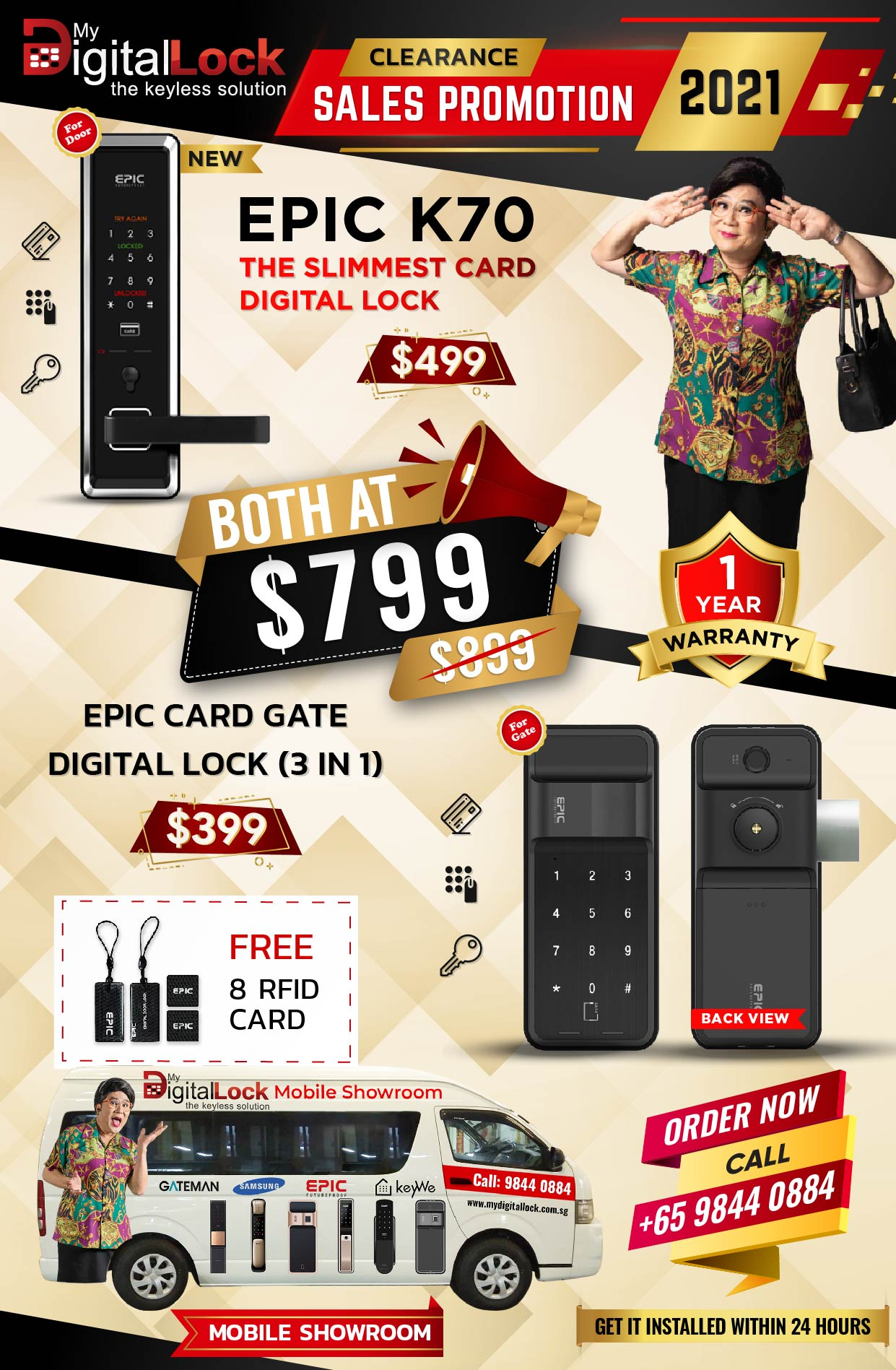 Epic K70 Slimmest Card Digital Lock