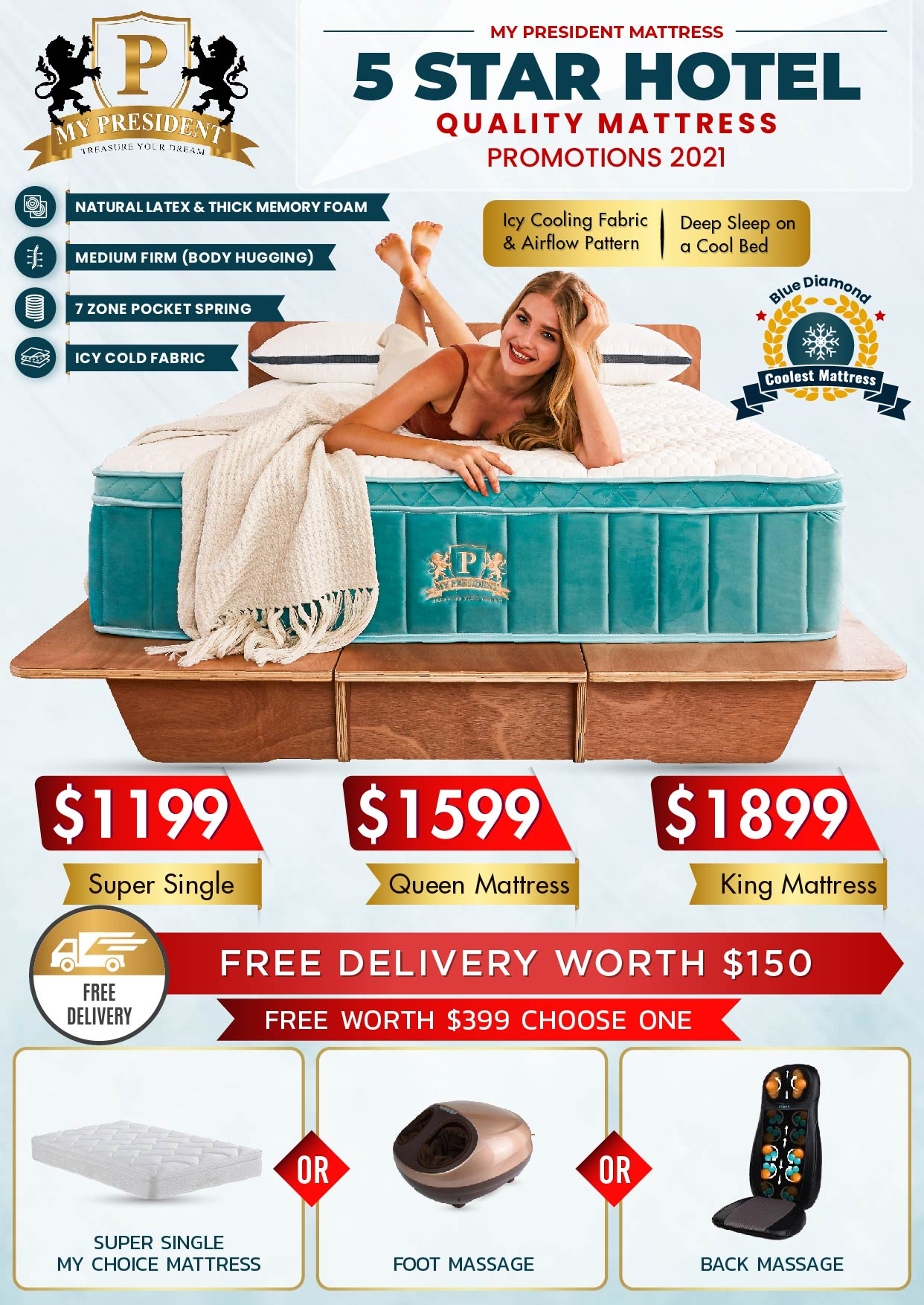 Ice cooling 5 Star Hotel Quality Mattress